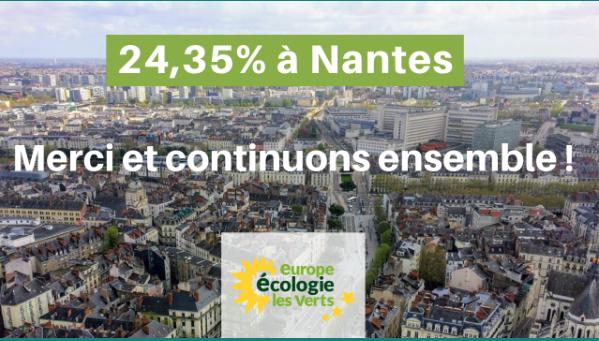 Européennes : 24,35 % à Nantes, merci et continuons ensemble